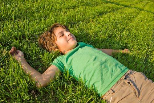 poika makaa nurmikolla