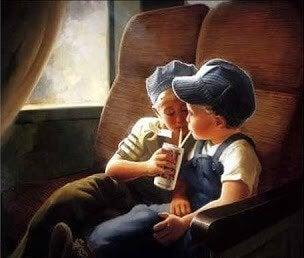 lapset junassa