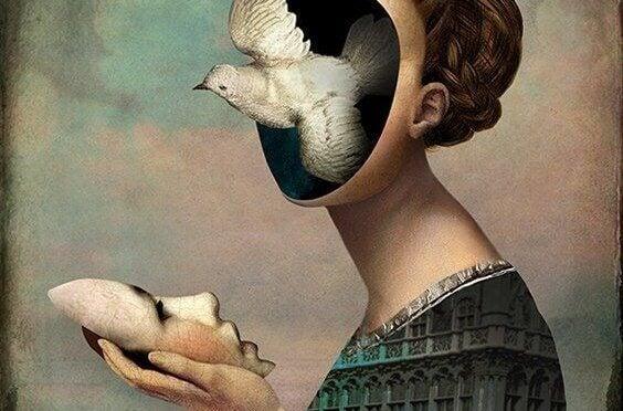 dissosiaatiohäiriö: naisen päästä lentää ulos kyyhky