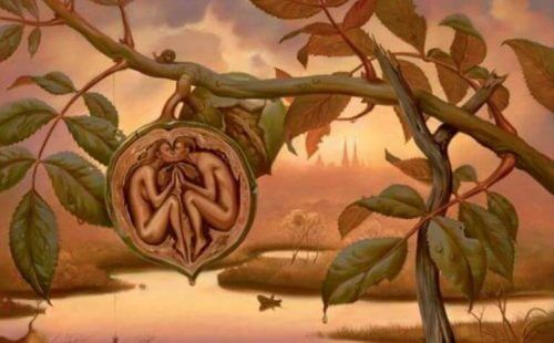 mies ja nainen pähkinän sisässä