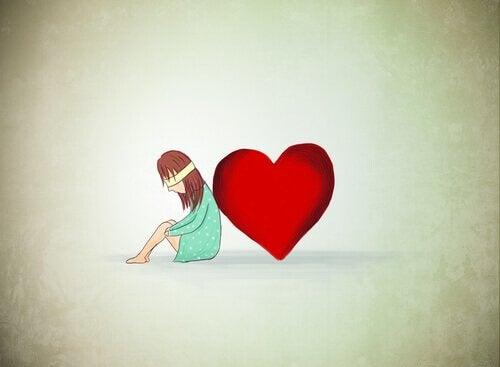 sokko tyttö nojaa sydämeen