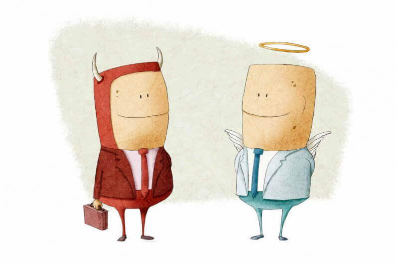 piru ja enkeli: hyvä ja paha