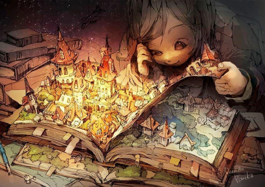tyttö on uppoutunut kirjaan
