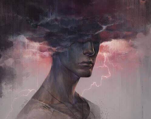 miehen pää mustissa pilvissä