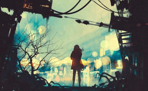 nainen katselee kaupunkia