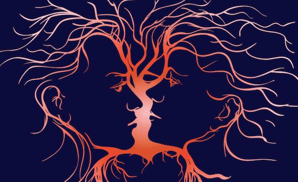 miehen ja naisen siluetit muodostavat puun