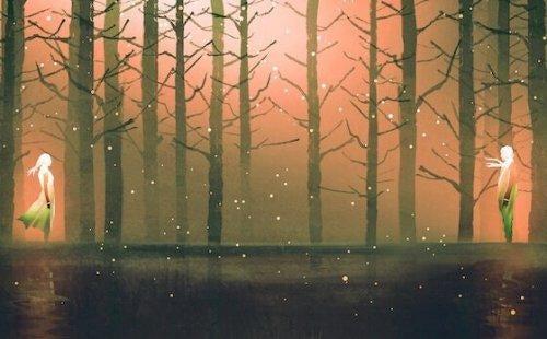 kaksi ihmistä metsässä