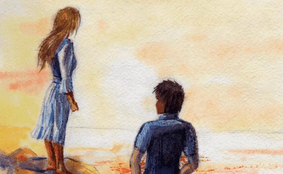 nainen ja mies seisovat erillään