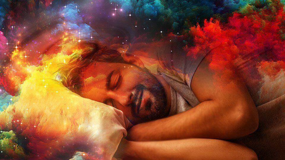 mies nukkuu ja näkee unia