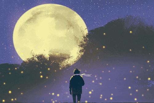 ihminen katsoo kuuta