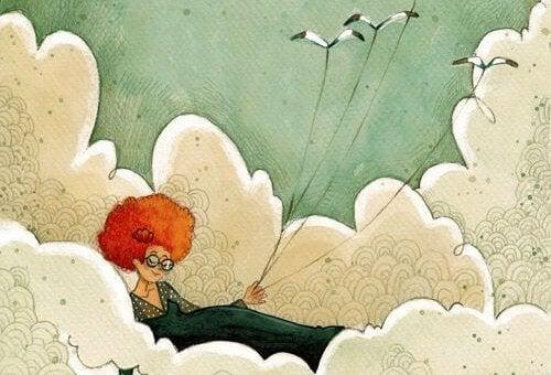 nainen pilvissä