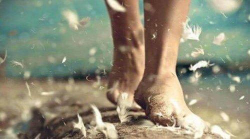 kävelee paljain jaloin höyhenissä