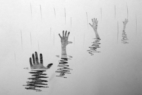 apua tavoittelevat kädet