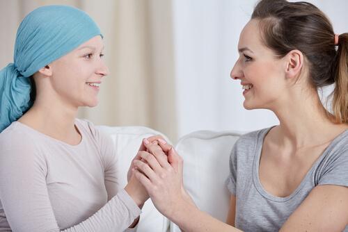 rintasyövästä kärsivä nainen ja ystävä