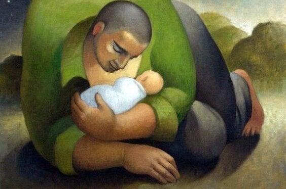 isä halaa vauvaansa
