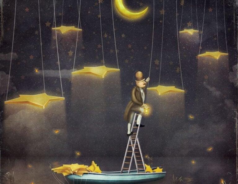 mies laittaa tähtiä roikkumaan taivaalle