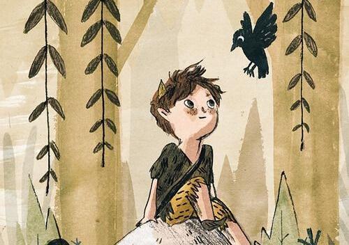 poika leikkii metsässä
