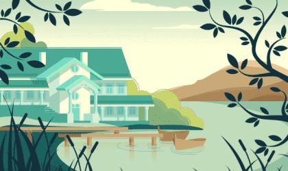 Kaunis vertauskuva talosta ilman isäntää