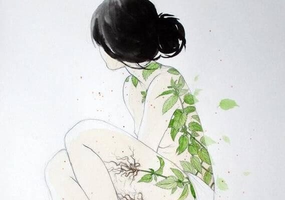naisen kehossa on lehtiä