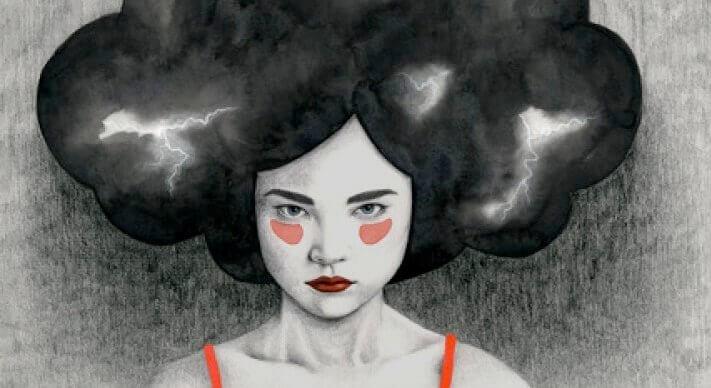 emotionaalinen päättely: salamoita naisen hiuksissa