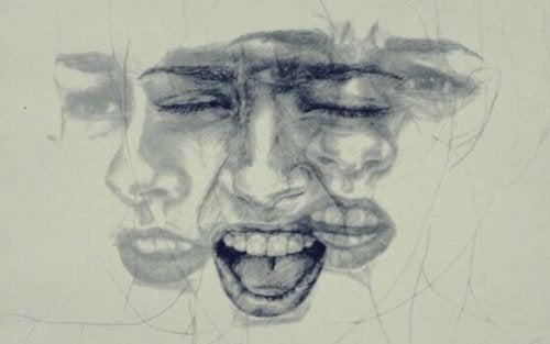 Emotionaalinen tietoisuus: nainen ja eri ilmeitä