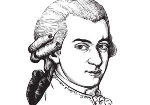 Wolfgang Amadeus Mozart piirrettynä