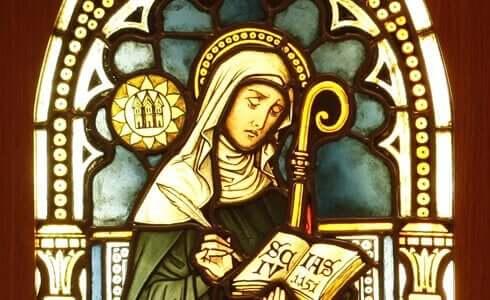 Hildegard Bingeniläinen lasimaalauksessa