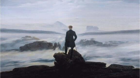 maalaus Søren Kierkegaardista meren rannalla