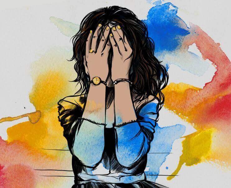 nainen, joka peittää silmänsä käsillään