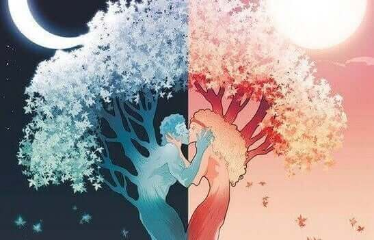 sininen puumies ja punainen puunainen syleilevät