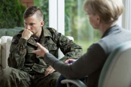 Traumaperäinen stressihäiriö eli sotilaan syndrooma.